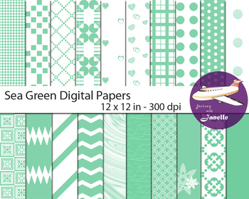 Sea Green Digital Papers for Backgrounds, Scrapbooking & C