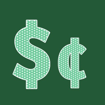 Sea Green Polka Dot Alphabet Clip Art + Numerals, Punctuation and Math Symbols
