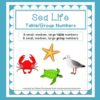 Sea LIfe Themed Table/Group Numbers