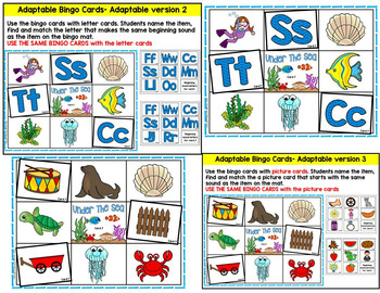 Sea Life-ocean animals bingo and  Phonemic Awareness Literacy Activities