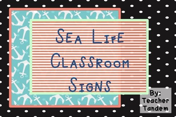 Sea Life Classroom Signs