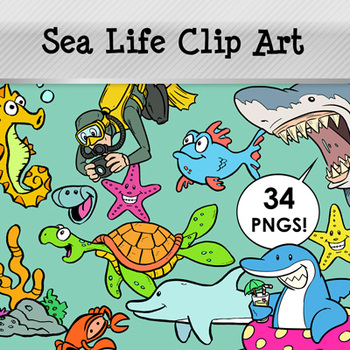 Sea Life Clip Art Pack: 34 PNG Images for Commercial Use