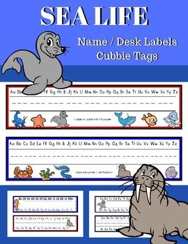 Sea Life Desk Name Tags, Name Plates, Desk Toppers
