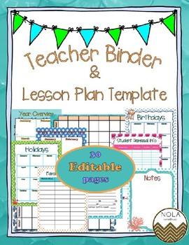 Sea Life EDITABLE Teacher Binder / Lesson Plan Template