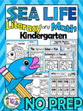 Sea Life- Literacy, Science, Math- 125+ NO PREP PRINTABLES (CCSS)