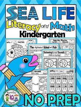 Sea Life- Literacy, Science, Math- 125+ NO PREP PRINTABLES (CCSS)