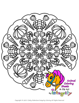 Sea Life Mandala Coloring Sheets - Seahorse, Dolphin, Shells, Fish, Sea Turtles