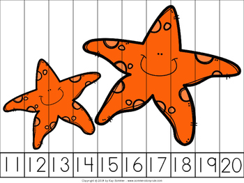 Sea Life Math Puzzles 1:  Counting by 1's