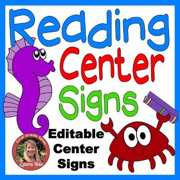 Sea Life Ocean Animals Reading Center Signs
