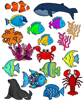 sea life sea animals ocean animals clipart graphics 171 images rh teacherspayteachers com ocean sea life clipart