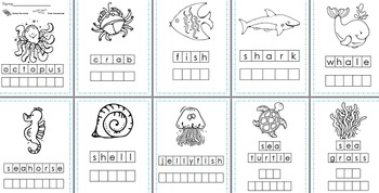 Sea Life Stamp a Word & Write the Room Centers