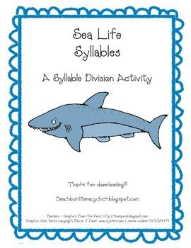 Sea Life Syllables - Syllable Division