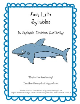 Sea Life Syllables - Syllable Division