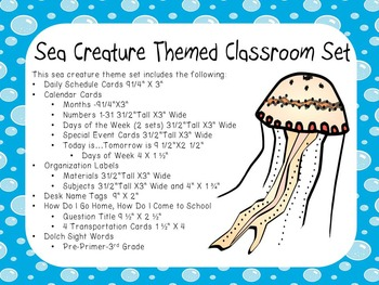 Classroom Display Set Ocean Sea Life Theme