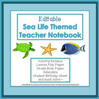 Sea Life Themed Teacher Binder (EDITABLE)