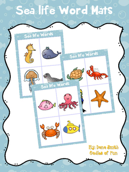 Ocean Word Mats (beginning sounds)