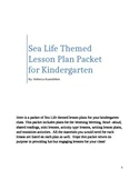 Sea Life themed lesson plan packet for kindergarten