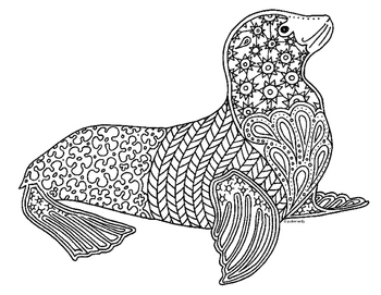 Sea Lion Zentangle Coloring Page By Pamela Kennedy Tpt