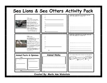 Sea Lions & Sea Otters Activity Pack