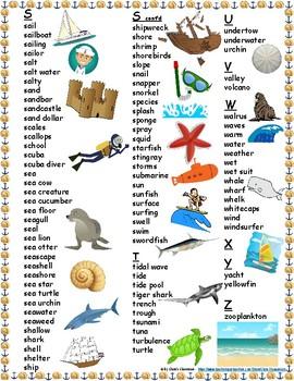 Sea/Ocean Student Printable Word Bank