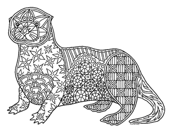 sea otter zentangle coloring page - Zentangle Coloring Pages