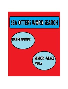 Sea Otters Word Search