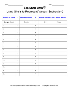 Sea Shell Math Using Shells to Represent Values (subtraction)