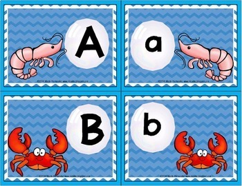 Alphabet Matching Uppercase Letters to Lowercase Letters {Sea Themed}