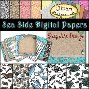 Sea Side Clipart Digital Papers {Paez Art Design}