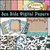 Seaside Clipart Digital Papers {Paez Art Design}
