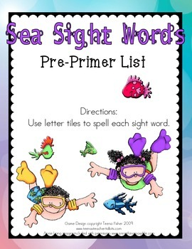 Sea Sight Word Tile Cards Pre-Primer Dolch List