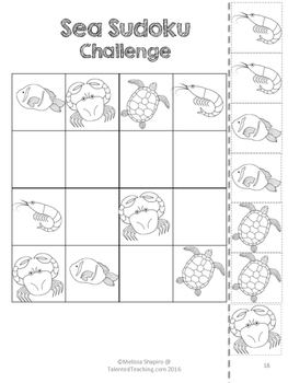 Early Finishers Ocean Animals Critical Thinking Sudoku Puzzles