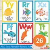 Sea Theme Alphabet Classroom Posters (A4 & US Letter)