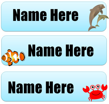 Sea Theme Name Labels