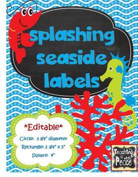 "Sea or Ocean Theme ""Splashing Seaside"" Labels *editable*"
