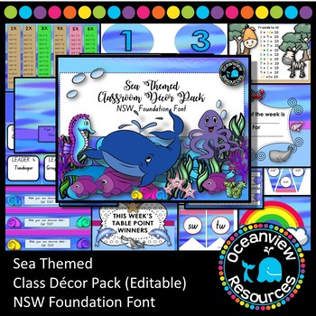 Sea Themed Decor Pack- NSW Foundation Font (Back to school )