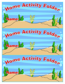 Sea Themed Home Activity Folder Label