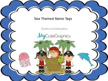 Editable Sea Themed Desk Name Tags