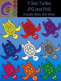 Sea Turtle Clip Art 9 Color Images