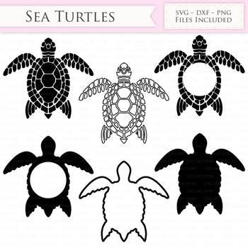 Sea Turtle SVG Files - swimming turtle, sea turtle monogram cut files