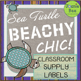 Sea Turtle Theme Classroom Supply Labels (Beachy Chic!)