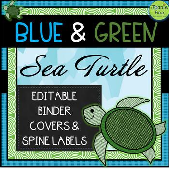 Sea Turtle Theme Editable Binder Covers & Spines