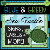 Sea Turtle Theme (Editable BLANK Signs, Labels & More!)