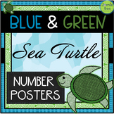 Sea Turtle Theme Number Posters (Blue & Green)
