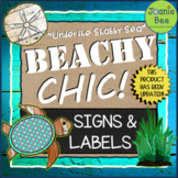 """Ocean & Underwater Theme (""""Under the Shabby Sea"""") Signs & Labels (EDITABLE)"""