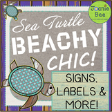 """Sea Turtle Themed Signs & Labels (""""Beachy Chic!"""")"""
