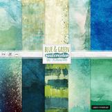 Sea Turtle Watercolor Digital Background Papers | Blue, Green Ocean