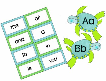 Sea Turtle Word Wall Cards - High Frequency Words - Editable Cards