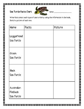 """""""Sea Turtles"""", by G. Gibbons, Comp. Questions and Project Sheets"""