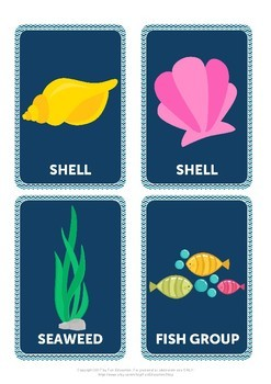 Sea World Flash Cards, Sea Animals, Printable Cards, Flashcards for Kids